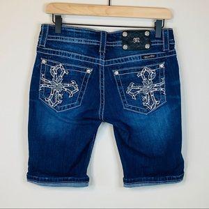 Miss Me Bermuda Jean shorts Jeweled Cross Pockets